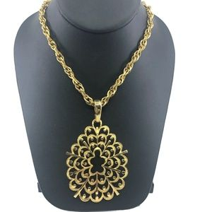 Vintage Gold Tone Chunky Medallion Necklace